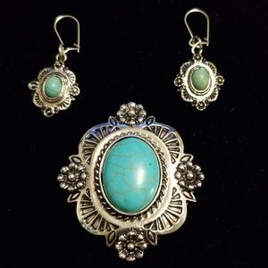 Vintage Turquoise Earrings & Brooch